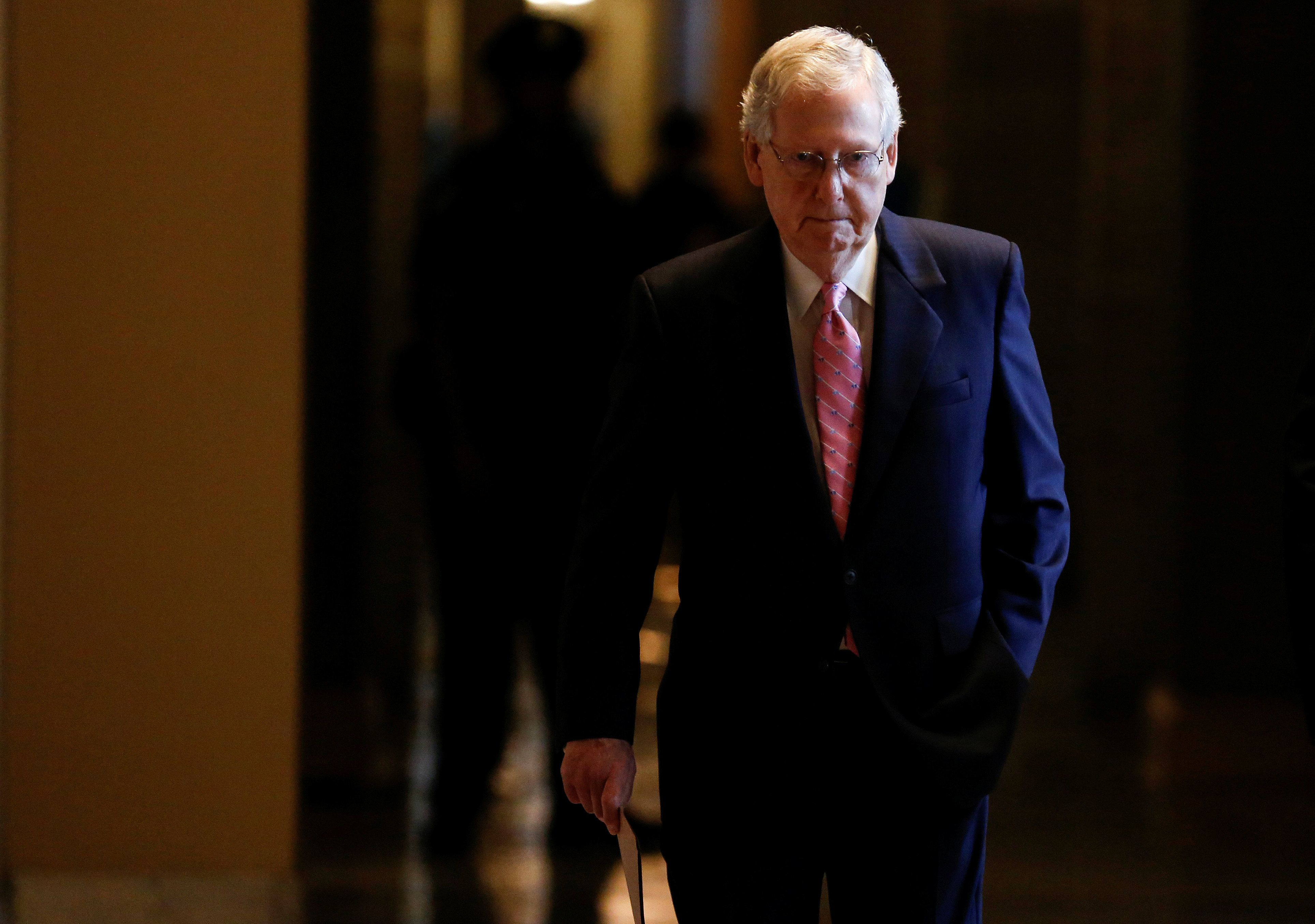 Senate Majority Leader Mitch McConnell (R-KY) walks to the Senate Chamber at the U.S. Capitol in Washington, U.S., August 22, 2018. REUTERS/Joshua Roberts