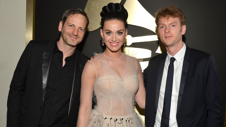 Dr. Luke (L) and Katy Perry with producer Cirkut at the Grammy Awards on Jan. 26, 2014.