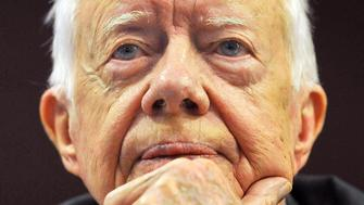 Former US President Jimmy Carter talks to the media during a press conference on the worldwide eradication of the water borne Guinea Worm disease from some of the Worlds poorest countries, at the Royal Commonwealth Society in central London.