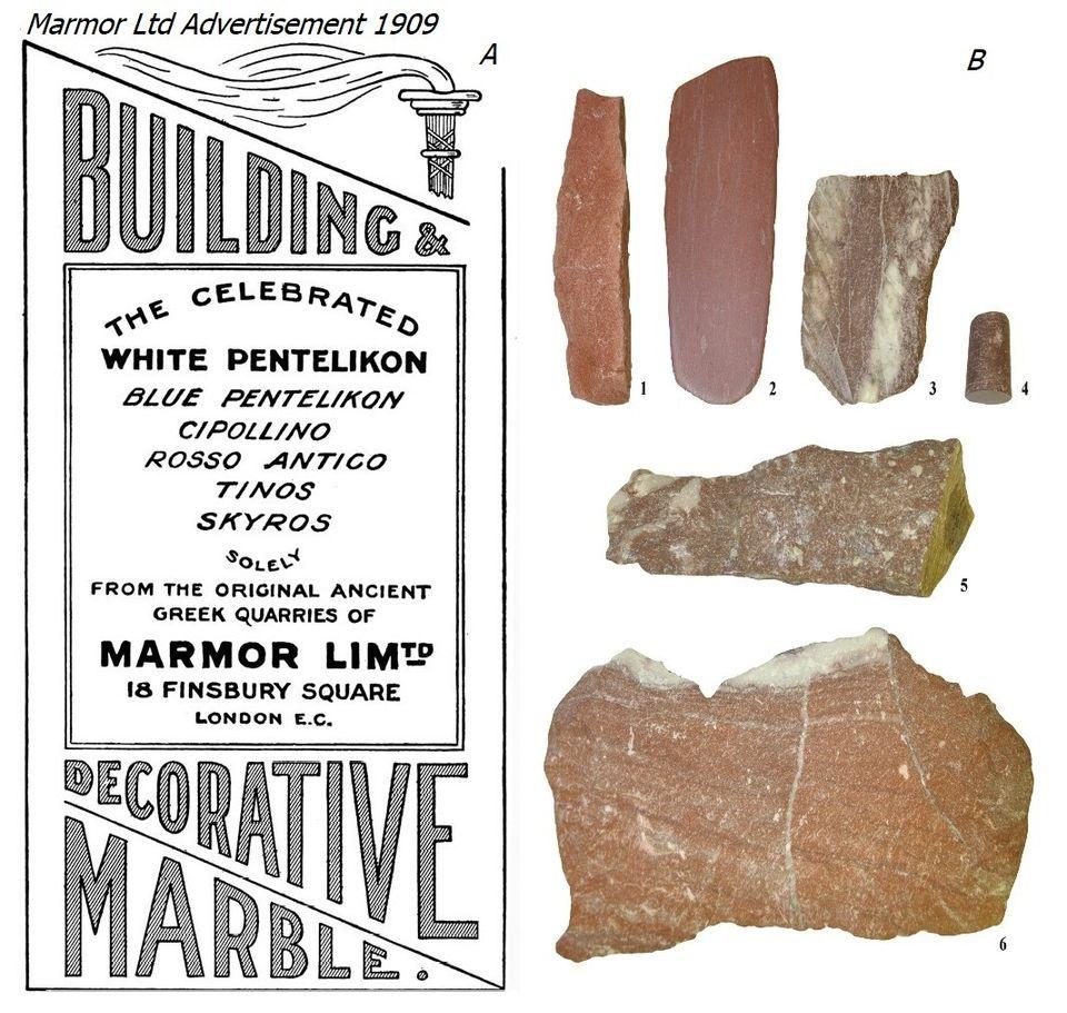 Εικ.4. Α. Διαφήμιση των λατομικών προϊόντων της Marmor Ltd του 1909 Β. Rosso antico διαφόρων προελεύσεων