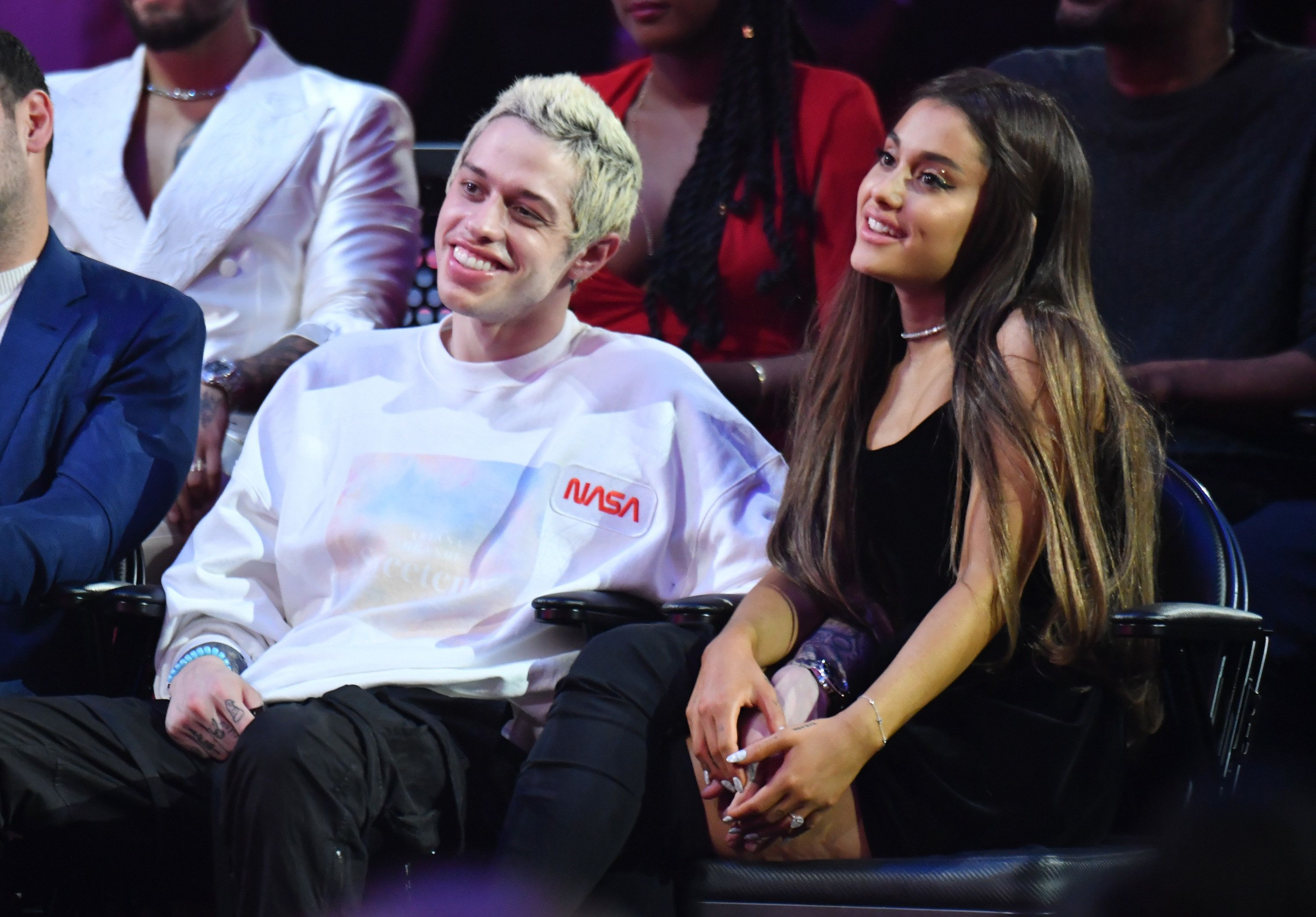 NEW YORK, NY - AUGUST 20:  Pete Davidson (C) and Ariana Grande (R) attend the 2018 MTV Video Music Awards at Radio City Music Hall on August 20, 2018 in New York City.  (Photo by Jeff Kravitz/FilmMagic)