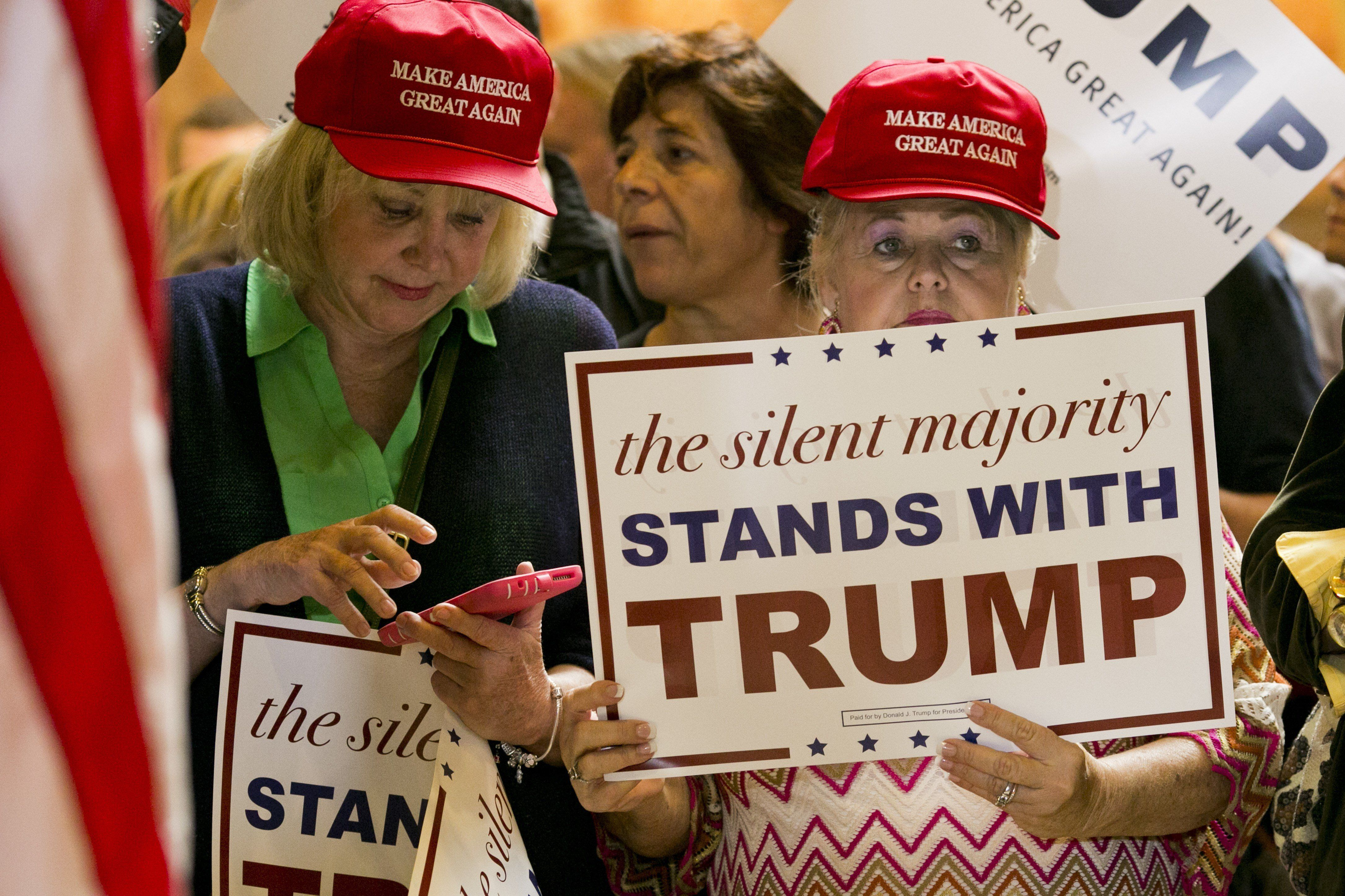 Donald Trump supporters at his Sept. 28, 2015, news conference at Trump Tower in New York.