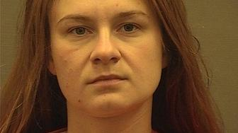 Maria Butina appears in a police booking photograph released by the Alexandria Sheriff's Office in Alexandria, Virginia, U.S. August 18, 2018. Alexandria Sheriff's Office/Handout via REUTERS   ATTENTION EDITORS - THIS IMAGE HAS BEEN SUPPLIED BY A THIRD PARTY.