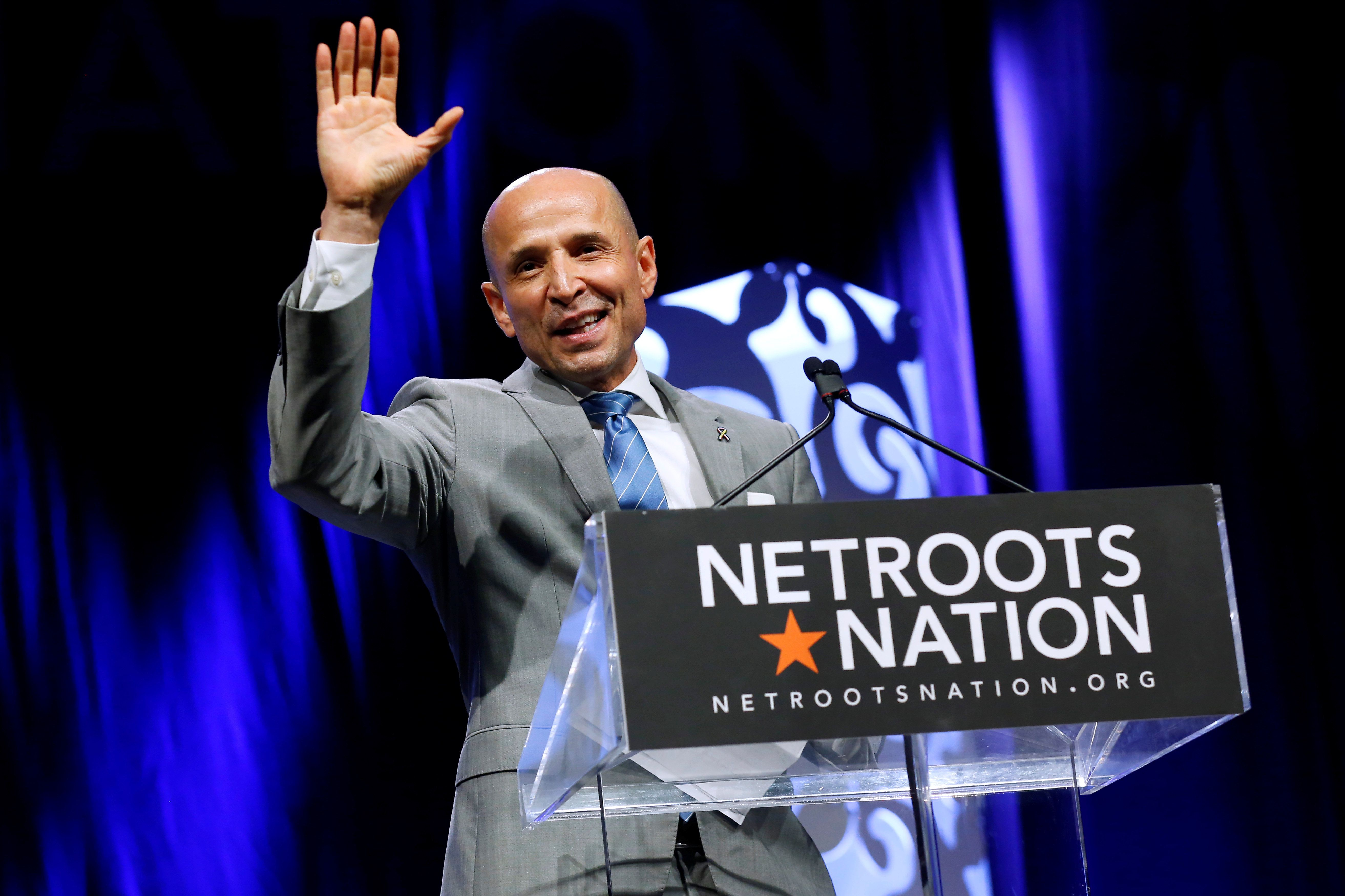 David Garcia, gubernatorial candidate for Arizona, speaks at the Netroots Nation annual conference for political progressives in New Orleans, Louisiana, U.S. August 4, 2018. REUTERS/Jonathan Bachman