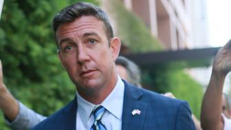 SAN DIEGO, CA - AUGUST 23: Congressman Duncan Hunter walks out of the San Diego Federal Courthouse after an arraignment hearing on Thursday, August 23, 2018 in San Diego, CA.  Hunter and his wife Margaret, who pled 'not guilty', are accused of using more than 250,000 in campaign funds for personal use. (Photo by Sandy Huffaker/Getty Images)