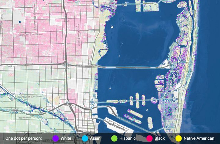 Miami, Florida. Areas that would be inundated by three feet of flooding are shaded in light blue (top). The population of Mia
