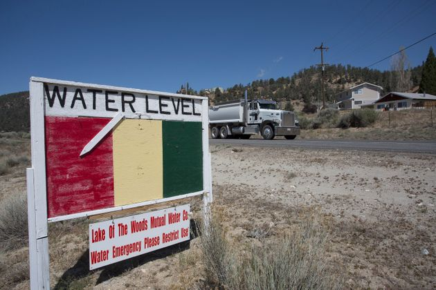 A groundwater-level sign in Los Padres National Forest on May 7, 2015, near Frazier Park, California. By...