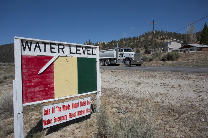 A groundwater-level sign in Los Padres National Forest on May 7, 2015, near Frazier Park, California. By 2050, water sup