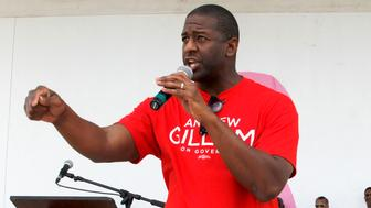 Gubernatorial candidate Andrew Gillum addresses the crowd of educators as Democrats running for the U.S. Senate, Florida governor and attorney general for the State of Florida attended an educational rally hoping to excite teachers and educators for their vote, on Sunday, Aug. 19, 2018 at the Betty Anderson Rec Center in Miami Gardens, Fla. (Carl Juste/Miami Herald/TNS via Getty Images)