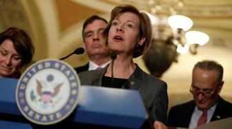 Senator Tammy Baldwin (D-WI) speaks with the media following the Democratic policy luncheon on Capitol Hill in Washington, D.C., U.S., March 14, 2017. REUTERS/Aaron P. Bernstein