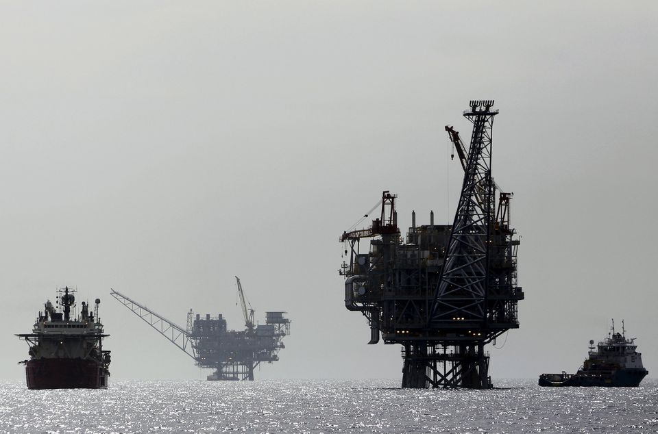 An Israeli gas platform, controlled by a U.S.-Israeli energy group, is seen in the Mediterranean sea,...