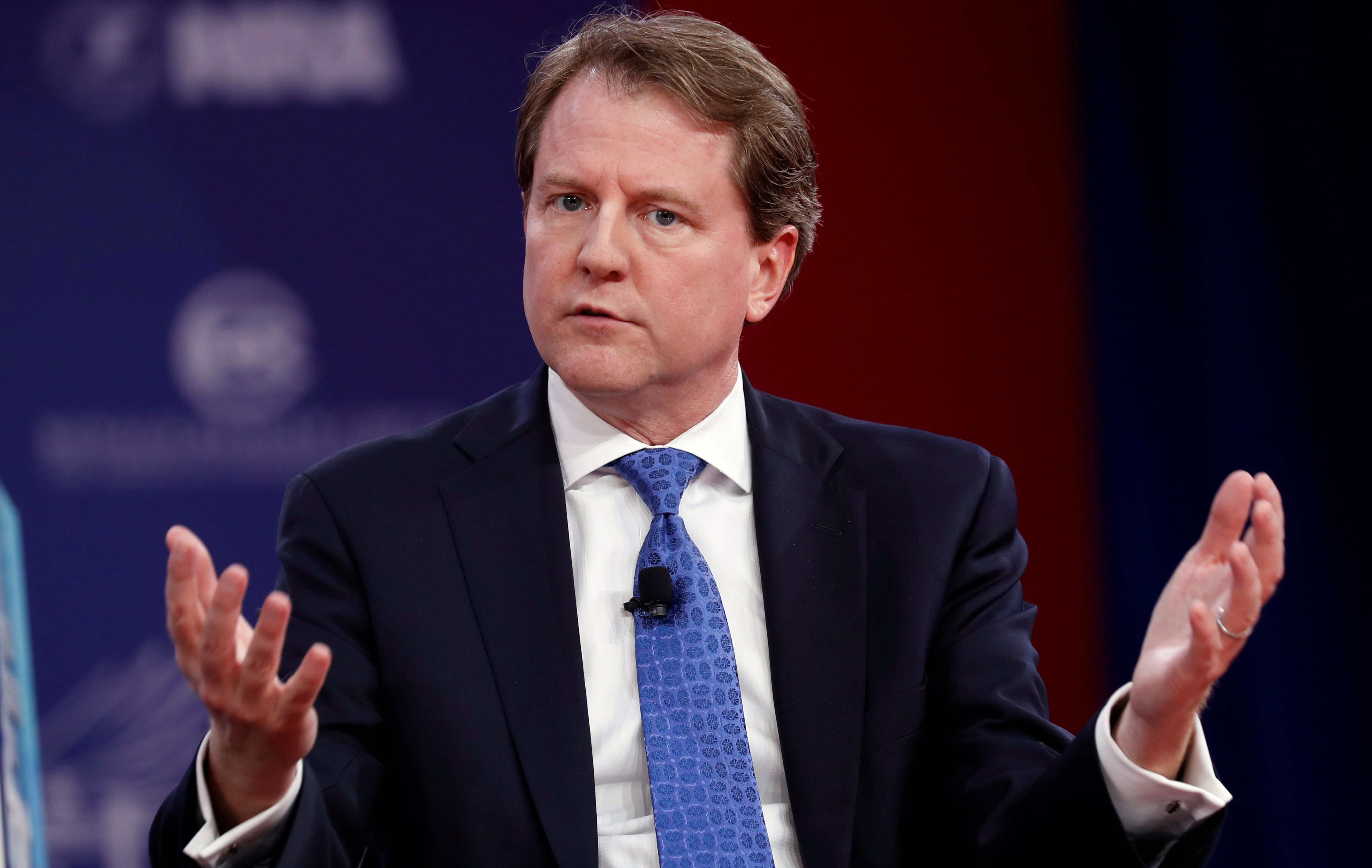 White House Counsel Don McGahn speaks at the Conservative Political Action Conference (CPAC) at National Harbor, Maryland,  U.S., February 22, 2018.  REUTERS/Kevin Lamarque