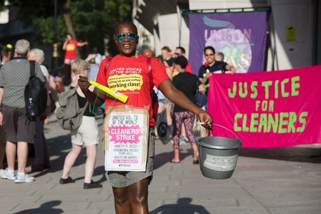 Striking cleaners from the union, United Voices of the World staging a picket protest outside the Ministry...