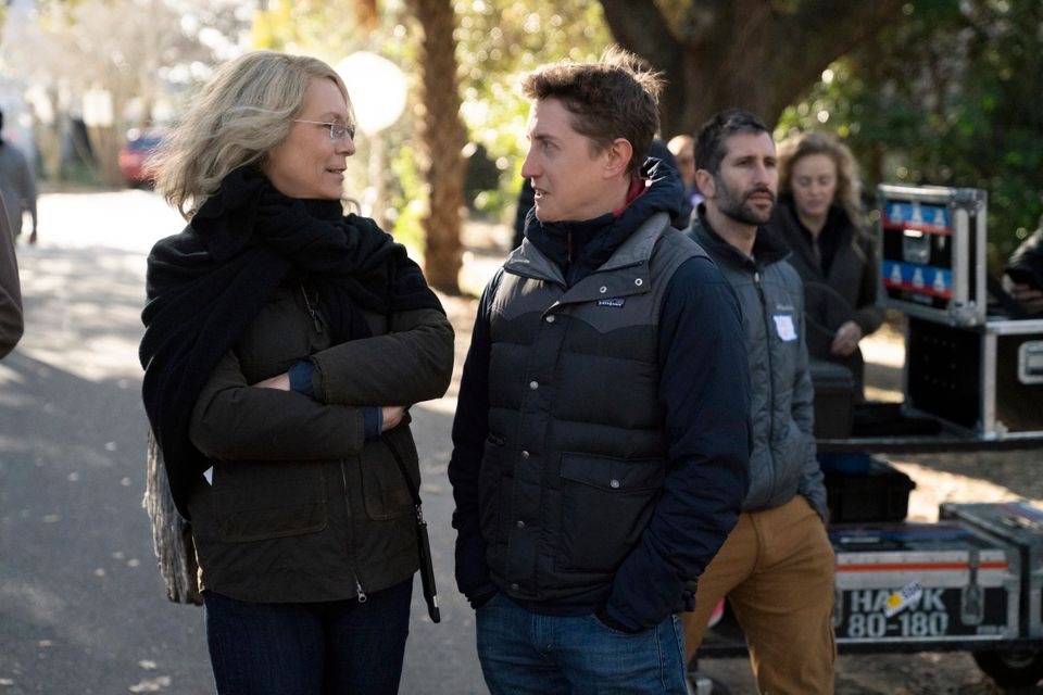 Jamie Lee Curtis and David Gordon Green on the set of