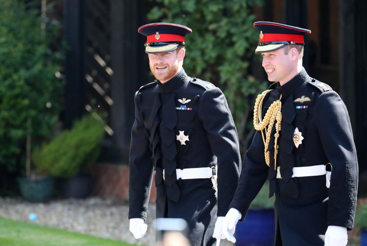 Prince Harry and the Duke of Cambridge arrive to the royal wedding.