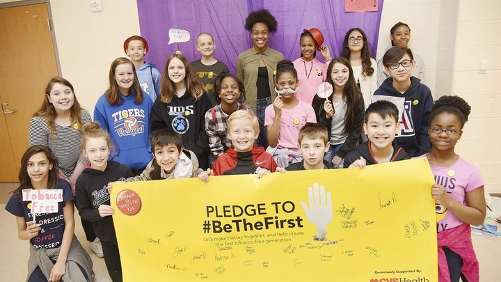 Students at Jamestown Middle School in North Carolina hold an event in March to encourage kids to stay tobacco-free. Advocate