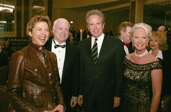Beatty (here with his wife, actress Annette Bening, and John and Cindy McCain in 2005) is a well-known Hollywood liberal, and