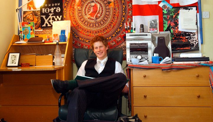 Prince Harry in his dorm room in 2003. The picture of his mother, Princess Diana, sits on the desk to the far left.