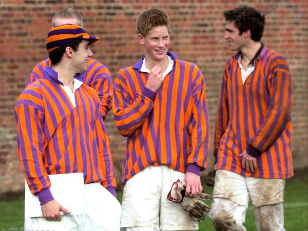Prince Harry with his teammates, called The Oppidans, after the traditional Eton wall game ended in a goal-less draw.