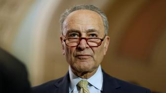 Senate Minority Leader Chuck Schumer (D-NY) looks on after the Democratic weekly policy lunch on Capitol Hill in Washington, U.S., June 19, 2018.      REUTERS/Joshua Roberts