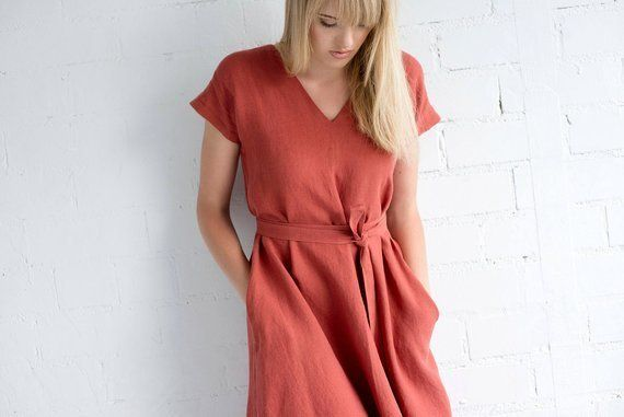 """Normally $144, on sale for $122.<br>Get it <a href=""""https://www.etsy.com/listing/519229494/linen-dress-motumo-17s9-hand"""