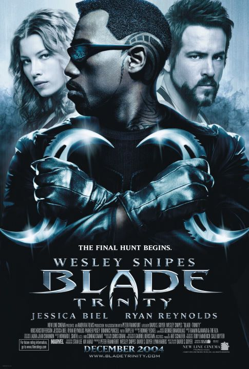 """Wesley Snipes' eyes are not visible on the poster art for """"Blade: Trinity."""" This is known as foreshadowing."""