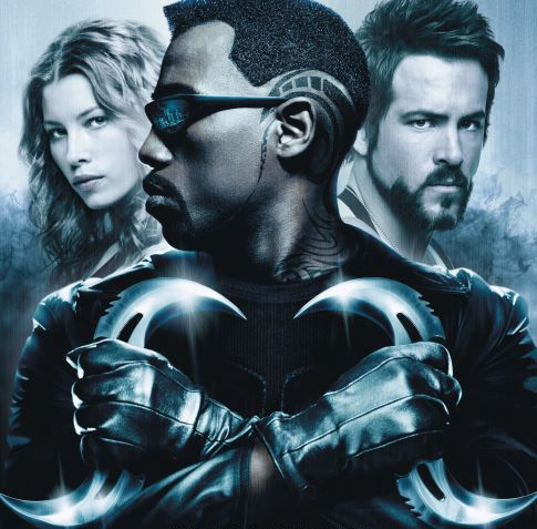 "Wesley Snipes' eyes are not visible on the poster art for ""Blade: Trinity."" This is known as foreshadowing."