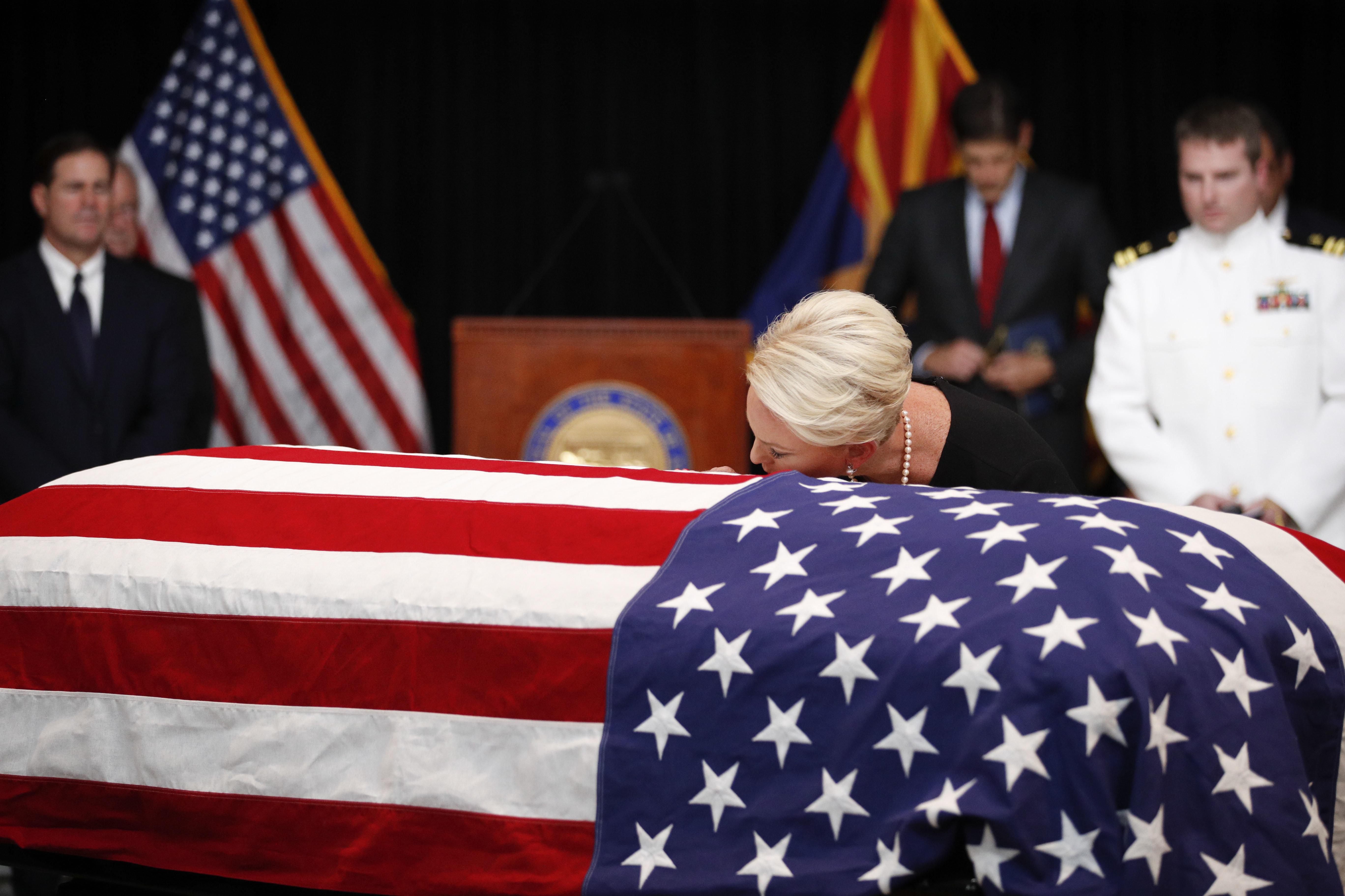 Cindy McCain Kisses Husband John McCain's Casket During Arizona