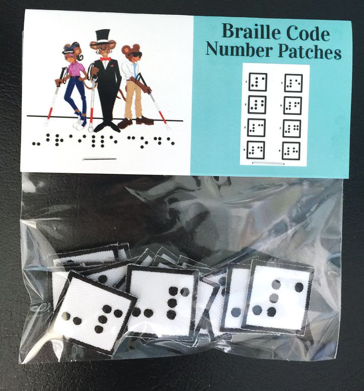 Braille Code Inc. sells numbered Braille patches to help kids line up the buttons and buttonholes of their shirts.