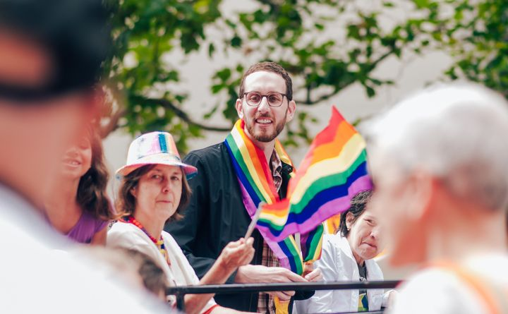 California state Sen. Scott Wiener (D), who introduced the intersex resolution, at San Francisco's LGBT pride parade on