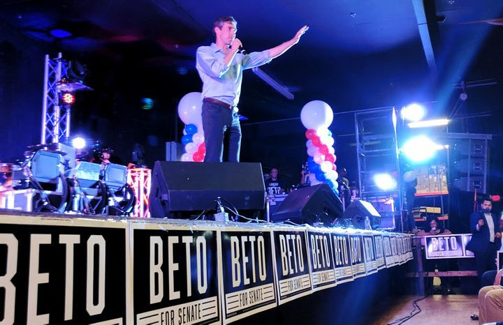 U.S. Rep. Beto O'Rourke (D-Texas) speaks before a crowd in Laredo on Aug. 17, 2018. The three-term Congressman is running a l