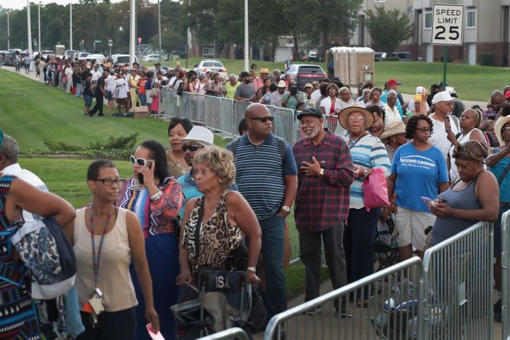 Fans of Aretha Franklin attend a viewing for the soul music legend at the Charles H. Wright Museum of African-American Histor