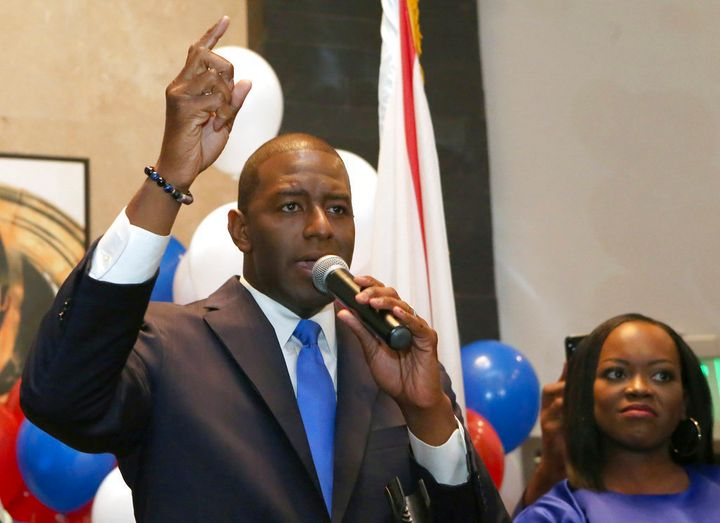 Andrew Gillum addresses his supporters after winning the Democratic primary for Florida governor on Tuesday in Tallahassee.&n