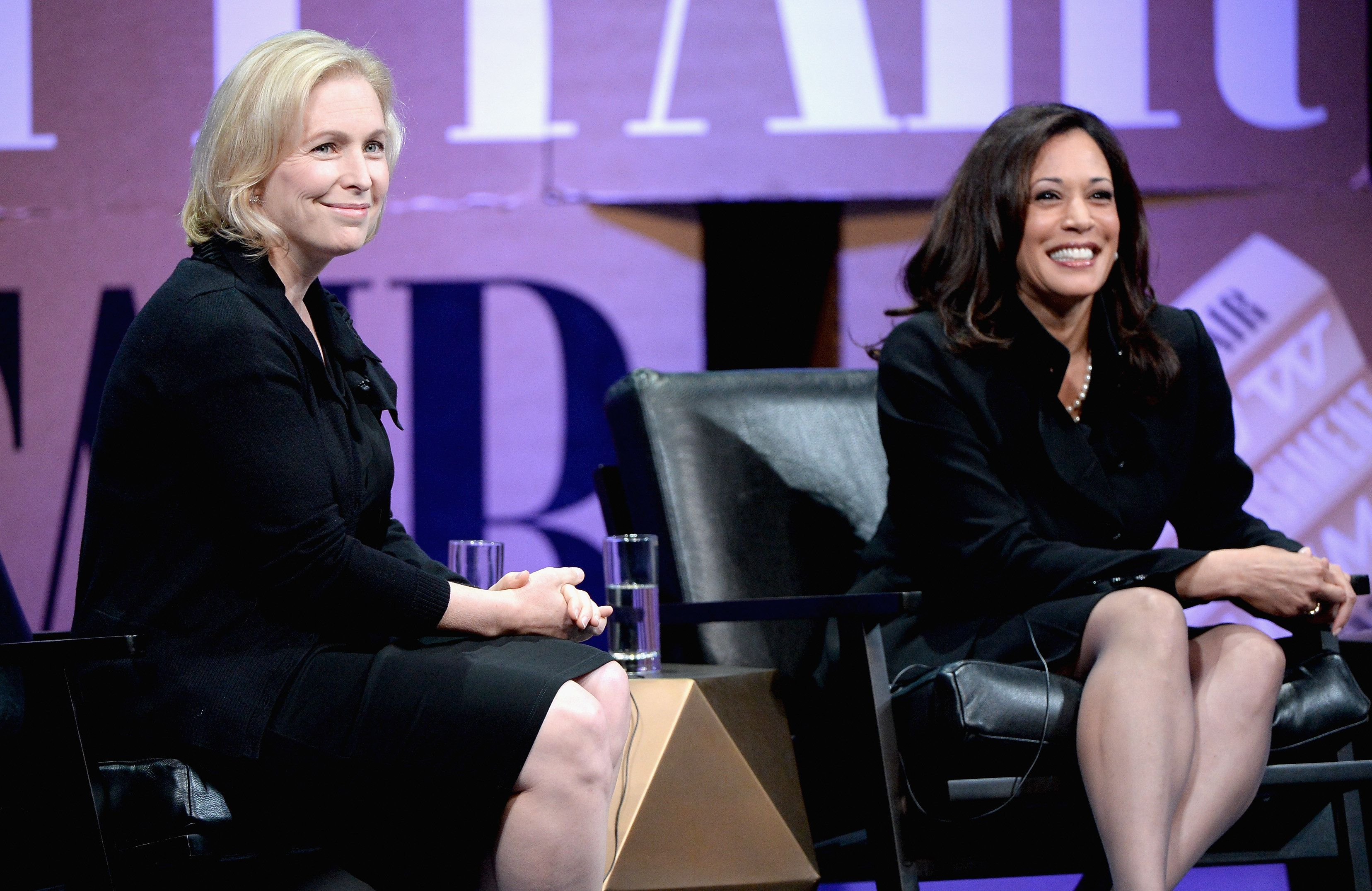 SAN FRANCISCO, CA - OCTOBER 09:  US Senator of New York Kirsten Gillibrand and Attorney General of California Kamala D. Harris speak onstage during 'Disrupting Politics' at the Vanity Fair New Establishment Summit at Yerba Buena Center for the Arts on October 9, 2014 in San Francisco, California.  (Photo by Michael Kovac/Getty Images for Vanity Fair)