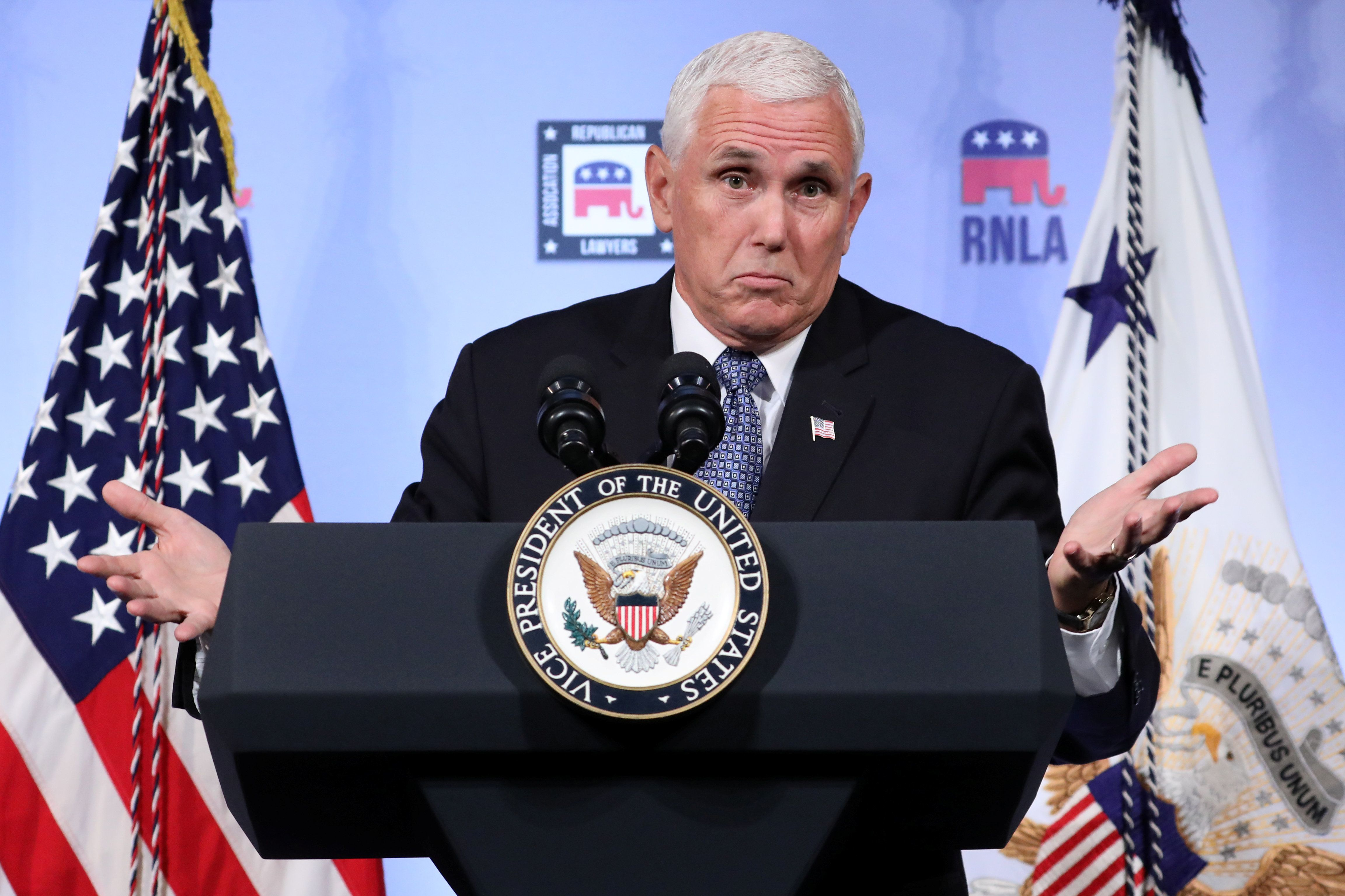 U.S. Vice President Mike Pence delivers a speech at the Republican National Lawyers Association (RNLA) in Washington, U.S., August 24, 2018. REUTERS/Chris Wattie