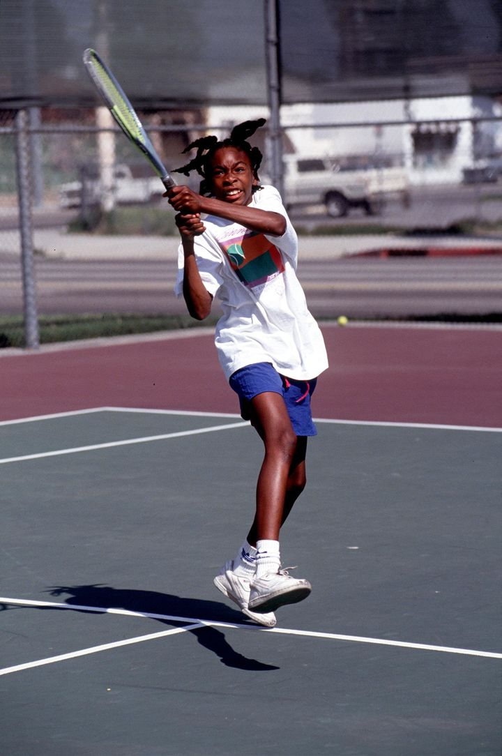 Venus Williams practices her game in Compton, California, in 1991.