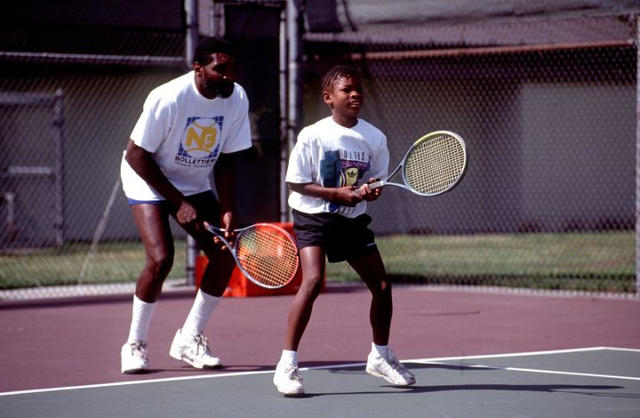 Richard Williams practices with his daughter, Serena Williams, in 1991.