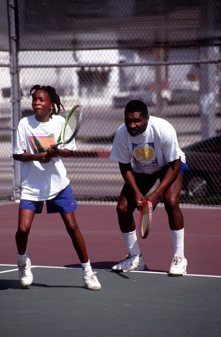 Richard Williams practices with his daughter Venus in 1991.