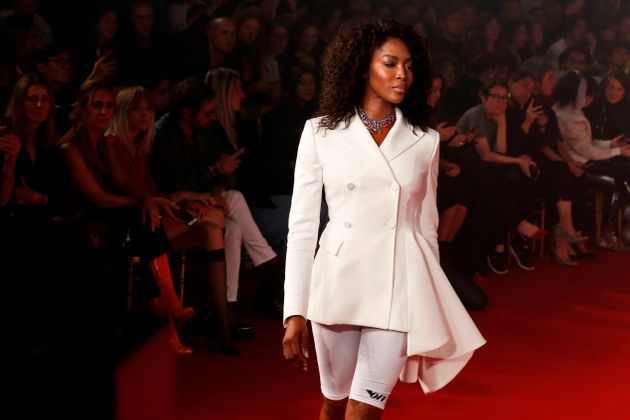 Naomi Campbell presents a creation by Off White during the women's 2018 Spring/Summer ready-to-wear collection...