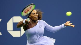 NEW YORK, USA - AUGUST 29: Serena Williams of USA competes against Carina Witthoeft of Germany (not seen) during US Open 2018 tournament in Arthur Ashe Stadium in Flushing, New York, United States on August 29, 2018. (Photo by Mohammed Elshamy/Anadolu Agency/Getty Images)