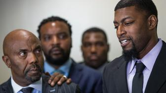 DALLAS, TX - AUGUST 28: Alongside attorney Odell Edwards, father of Jordan Edwards speaks to members of the media after a Dallas County jury found Roy Oliver, the former Balch Springs police officer who killed 15-year-old Jordan Edwards, guilty of murder August 28, 2018 in Dallas, Texas. (Photo by Ryan Michalesko/The Dallas Morning News via Getty Images)