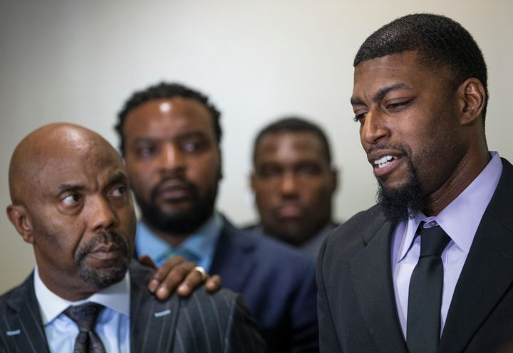 Odell Edwards, father of Jordan Edwards, speaks to members of the media after a Dallas County jury found Roy Oliver, the form