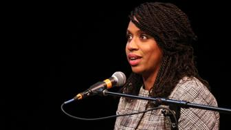 BOSTON, MA - APRIL 3: Boston City Councilor Ayanna Pressley speaks at a congressional forum in the Greene Theater at Emerson College in Boston on April 3, 2018. (Photo by Matthew J. Lee/The Boston Globe via Getty Images)