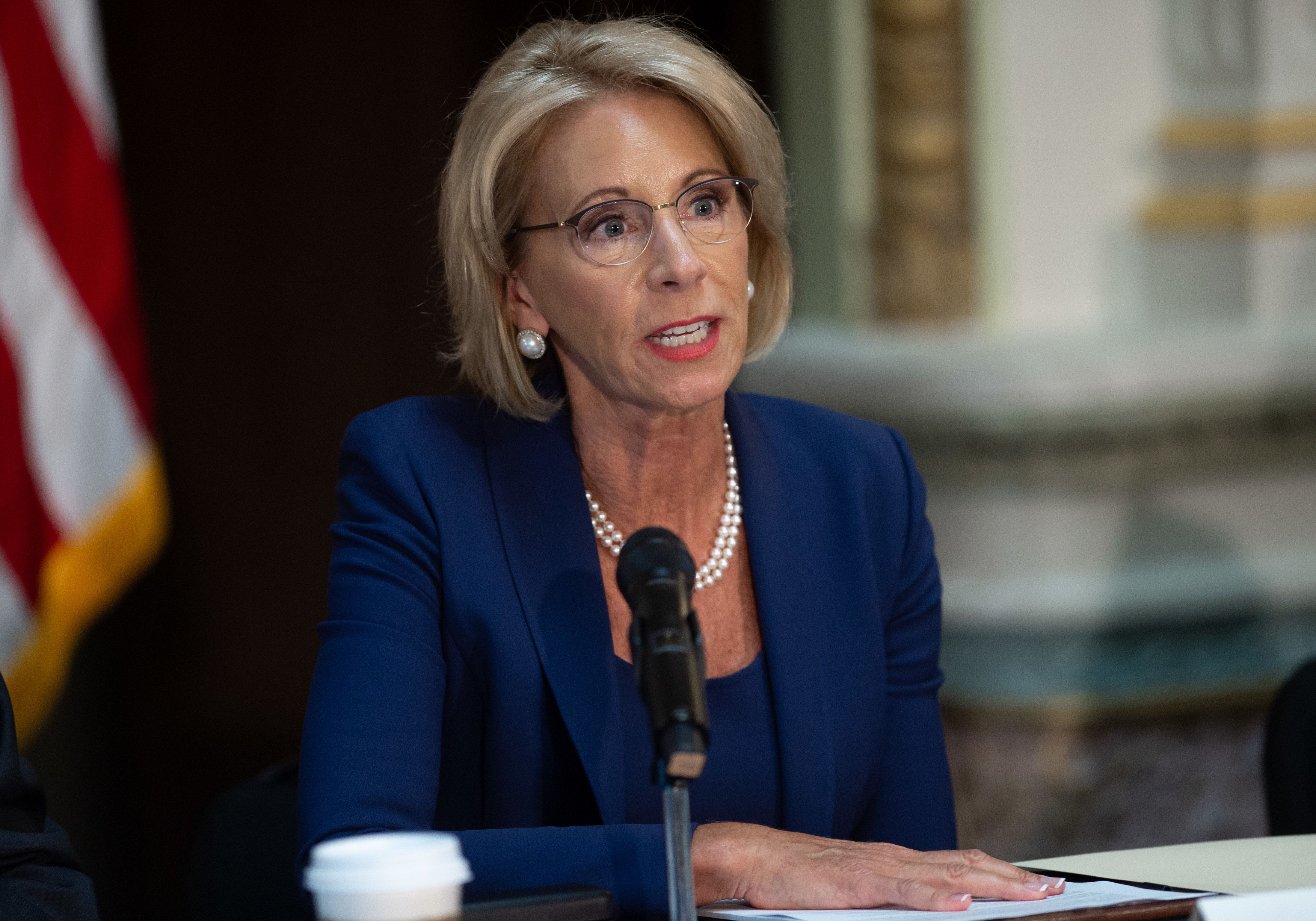 Secretary of Education Betsy DeVos speaks during the Federal Commission on School Safety on Aug. 16 in Washington, D.C.