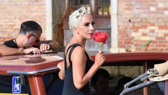 VENICE, ITALY - AUGUST 30:  Lady Gaga and Christian Carinois are seen during the 75th Venice Film Festival on August 30, 2018 in Venice, Italy.  (Photo by Jacopo Raule/GC Images)