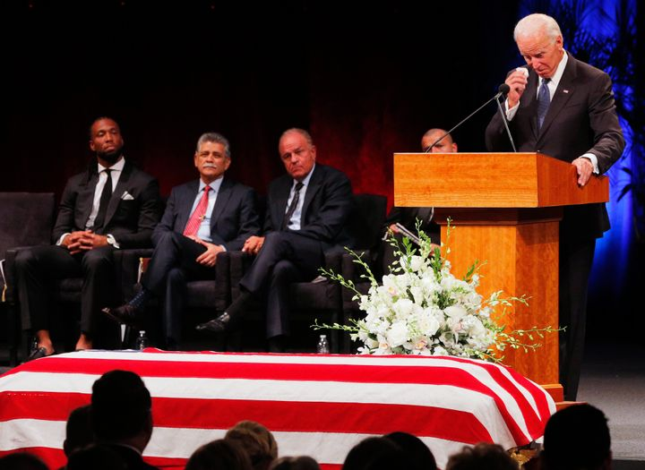 Former Vice President Joe Biden speaks at a memorial service for Sen. John McCain in Phoenix, Aug. 30.