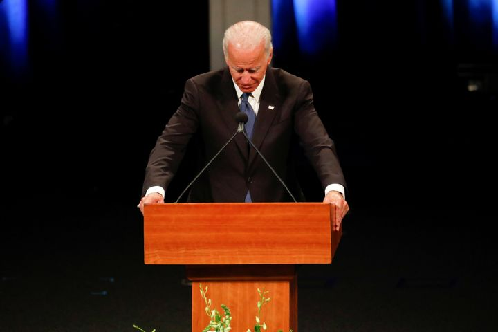 """In order to survive, we have to remember how they lived, not how they died,"" Biden said at the service."