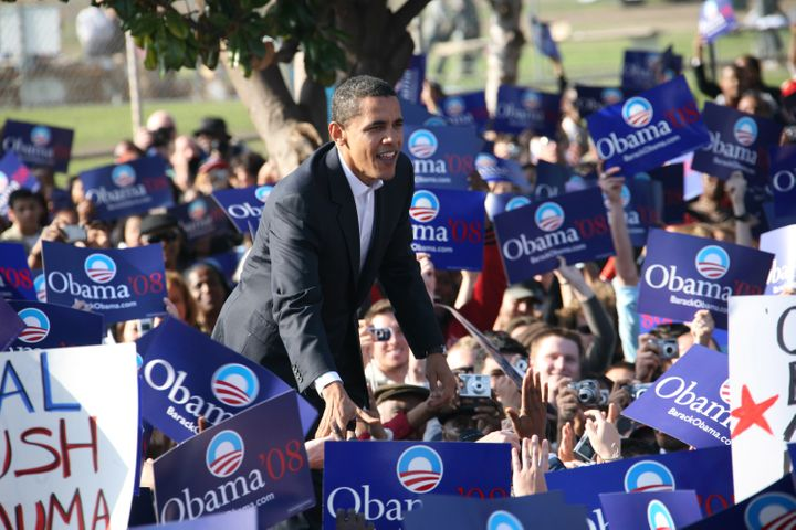 Then-Sen. Barack Obama is seen holding a rally at the Rancho Cienega Sports Complex in Los Angeles in 2007. It was his first&