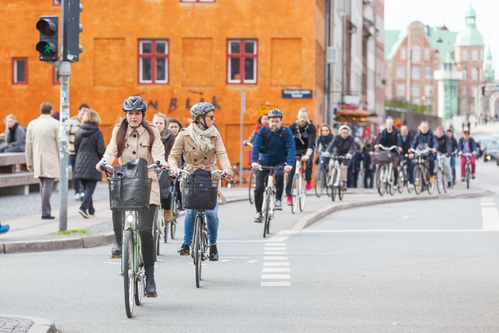 People commuting by bike in Copenhagen, Denmark. Some cities are already well set up for cleaner transportation options such