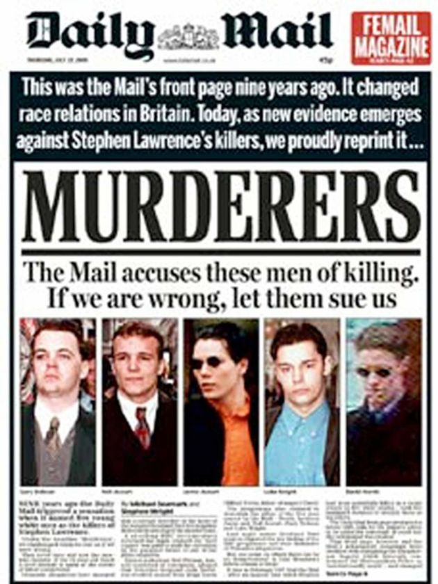 The Mail reprinted its 1997 front page in 2006, when new evidence